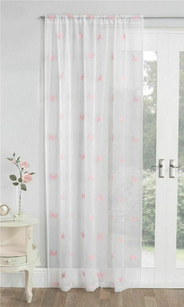 Blush Pink Embroidered Butterfly Motiff Sheer White Voile